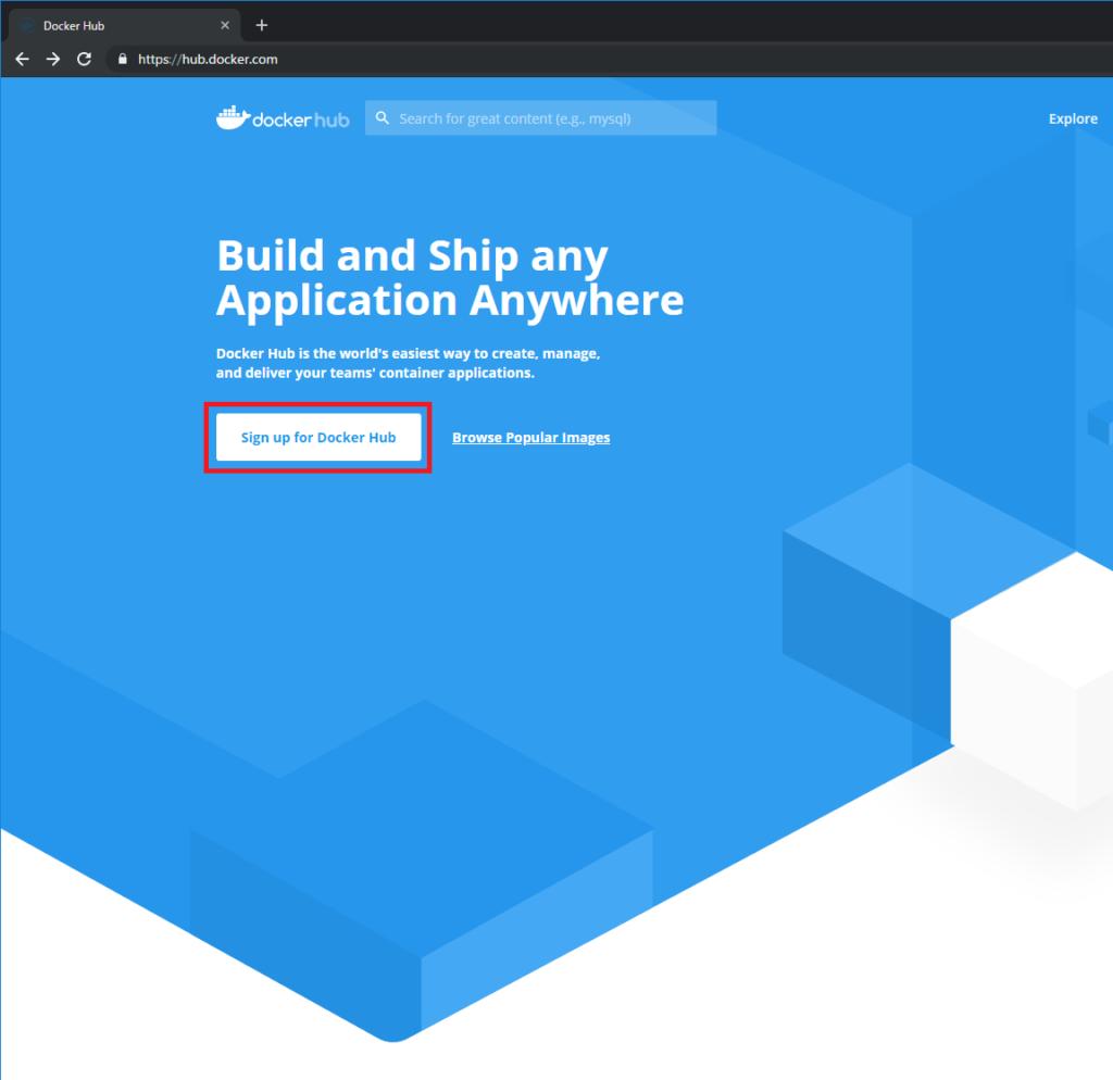 Docker Hub トップ画面の画像
